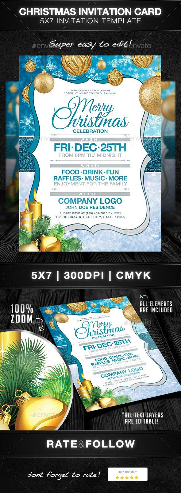 company christmas party invitation templates%0A Christmas Party Invitation Card  u     Photoshop PSD  snow flake  corporate  u      Available here