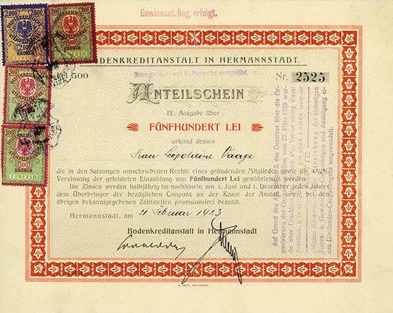 HWPH AG - Historic stock certificates - Bodenkreditanstalt in Hermannstadt