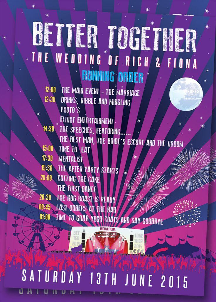 wedding running order poster http://www.wedfest.co/better-together-festival-wedding/