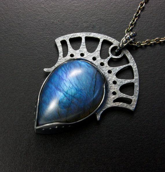 Blue Labradorite goth tiara pendant
