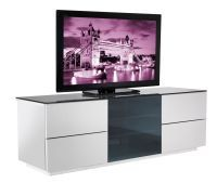 "Modern White TV Unit / Entertainment Centre Stunning high gloss MFC with Mirror Gloss Acrylic drawer fronts. Suitable to support larger televisions up to 60"". Smooth exterior façade. A practical cable management system at the rear hides away any loose wires and cables."