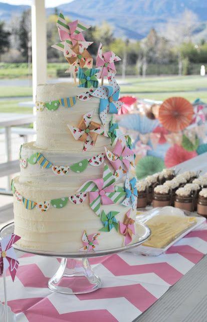 Pinwheel Party  Buttercream bunting cake