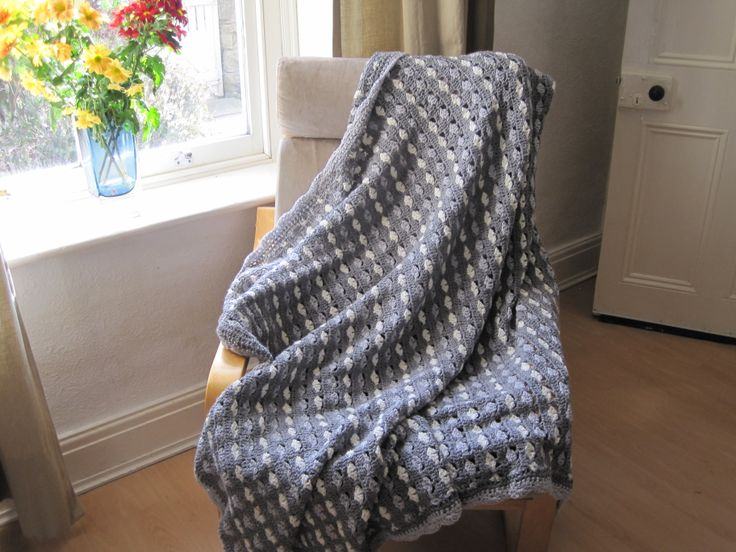 Grey crochet blanket by Apples and Pears