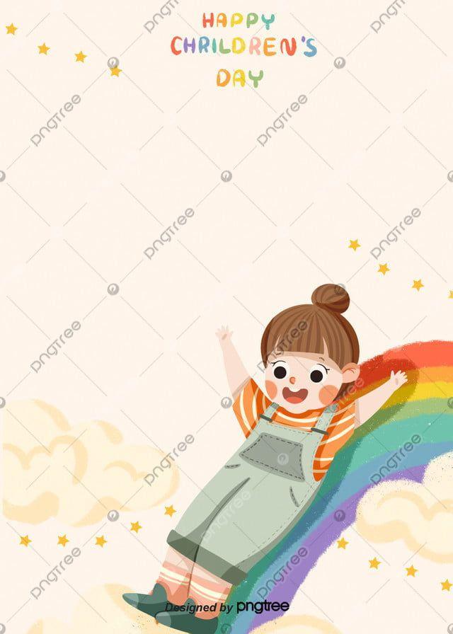 فتاة الكرتون سعيد يوم الطفل قوس قزح التوضيح الخلفية Happy Children S Day Girl Cartoon Rainbow