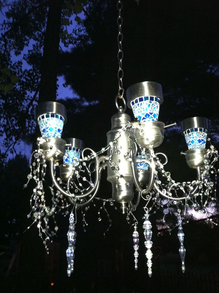 Trash To Treasure Garden Solar Light Chandelier~I Made This From An Old  Light Fixture~Added Solar Lights Some Bling~ I Have Made A Couple Of These  For ...