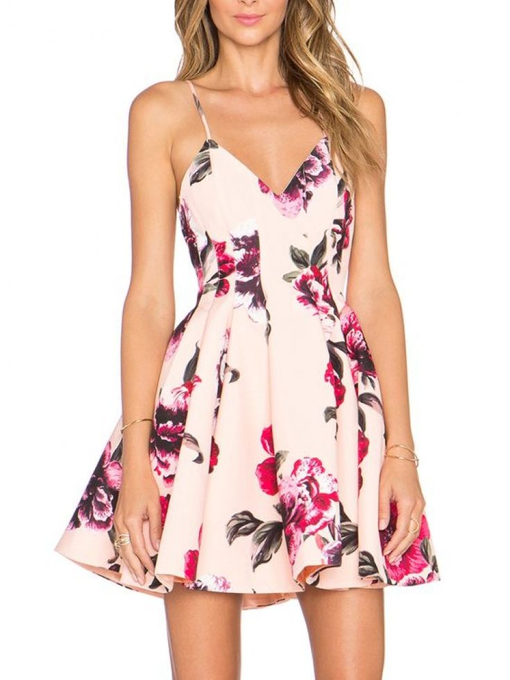 Pink Spaghetti Strap Backless Floral Print Flare Dress.. 10 Handpicked Look Of The Floral Print Outfits