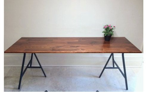 72x24 Large Desk Hand-finished Wood and Metal by goldenrulenyc