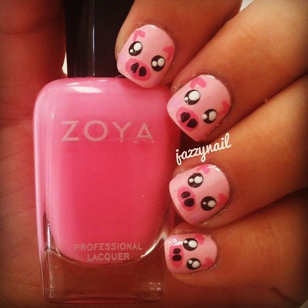 Pig Nail Art: 67 Best Nails Animals Pigs Images On Pinterest