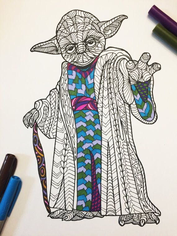 8.5x11 PDF coloring page of Yoda!  Fun for all ages.  Relieve stress, or just relax and have fun using your favorite colored pencils, pens, watercolors, paint, pastels, or crayons. Print on card-stock paper or other thicker paper (recommended).  Original art by Devyn Brewer (DJPenscript).  For personal use only. Please do not reproduce or sell this item. This artwork is purely fan-art, is unofficial, and has no connection with the creators of Star Wars.  HOW TO DOWNLOAD YOUR DIGITAL FILES…
