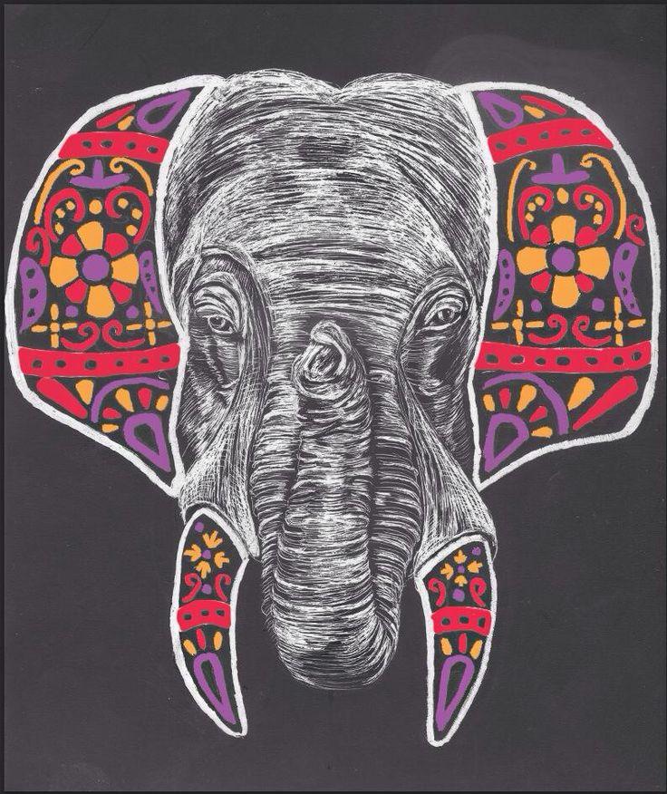 #animals #elephant #scratchboard #illustration #art #pattern
