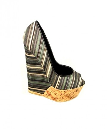 Roxanni™ Black Striped Peep Toe Wedge - Shoes