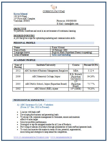 55% chance of getting an Interview call depends on your Resume Format and Content  Sample Template of Latest MBA Marketing Resume Sample with Experience in Sales and Marketing Professional Curriculum Vitae Free Download in Word Doc (3 Page Resume) (Click Read More for Viewing and Downloading the Sample)f  ~~~~ Download as many CV's for MBA, CA, CS, Engineer, Fresher, Experienced etc / Do Like us on Facebook for all Future Updates ~~~~