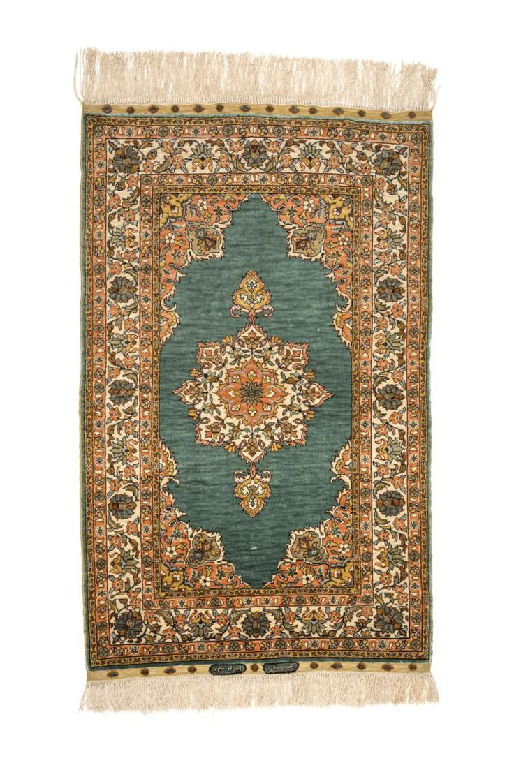 SIGNED HEREKE SILK CARPET, TURKEY Dimensions: approx. 98 cm x 60 cm I  Albahie Auction House