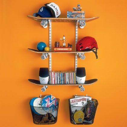 Skateboard Shelving - perfect for a boys room. Take three skateboards, a blank wall, and a room in need of storage and you get a stylish shelving unit that puts your wall to work and looks supercool. 3 skateboards 2 standards & 6 sturdy 6 1/2-inch shelf brackets 6 wall anchors; 6 screws; 4 drywall clips 2 wire bike baskets