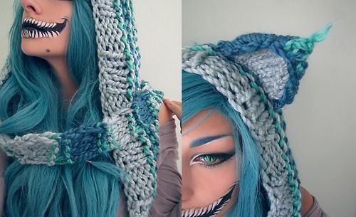Halloween Makeup Tim Burton Style Cheshire Cat with Hooded Scarf Blue Hair DIY Costumes
