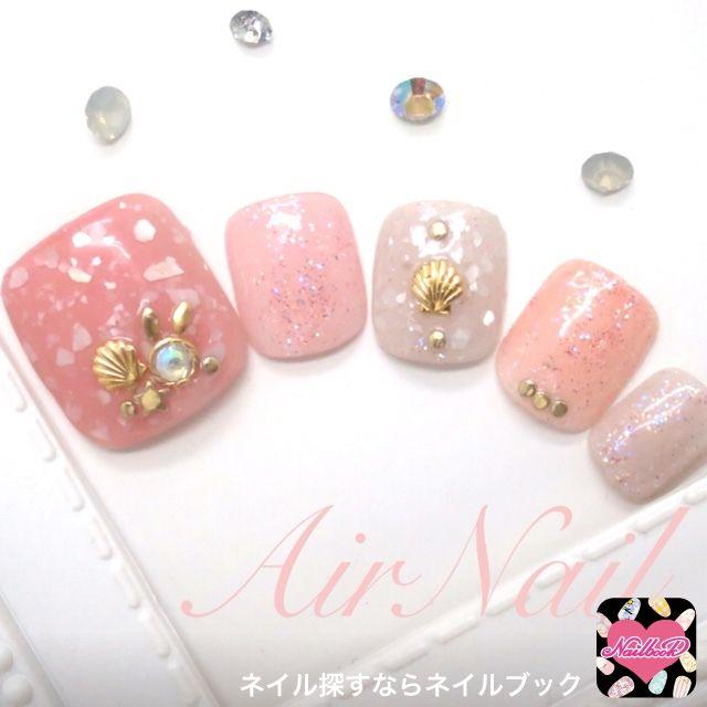 ネイル 画像 AirNail 松山 1606911 グレージュ 白 ピンク シェル シンプル ラメ ビジュー 夏 海 浴衣 オフィス ソフトジェル フット ミディアム