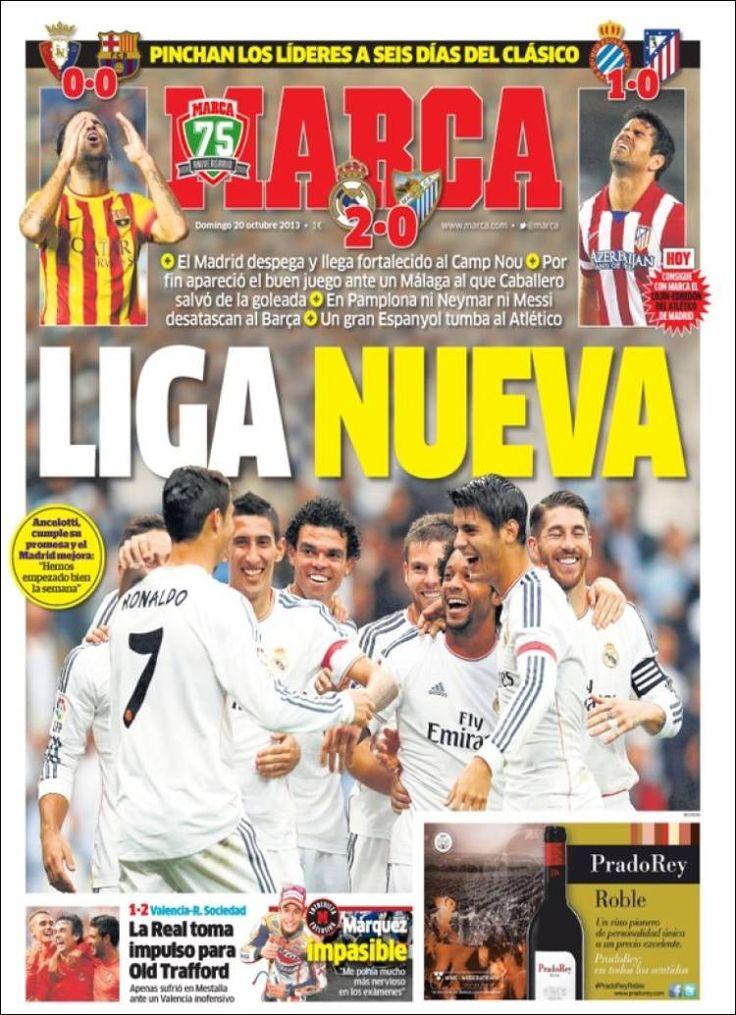 Los Titulares y Portadas de Noticias Destacadas Españolas del 20 de Octubre de 2013 del Diario Deportivo MARCA ¿Que le pareció esta Portada de este Diario Español?