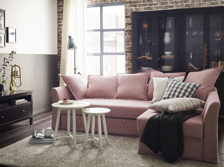 Best 20  Ikea sofa bed ideas on Pinterest A living room with a light pink corner sofa bed combined with white nest of. Bed For Living Room. Home Design Ideas