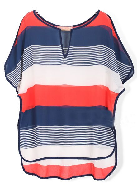 Navy Orange Short Sleeve Striped Chiffon Blouse