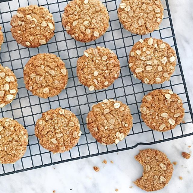 Anzac Biscuits // Madeline Bourke. Get this recipe and 30+ more of our favorite vegan dessert recipes at feedfeed.info/vegan-desserts