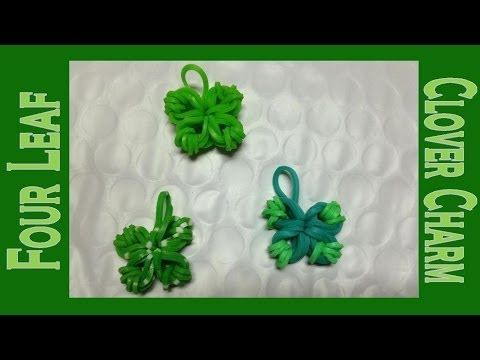This video shows how to make a 4 Leaf Clover Charm (credit for the design goes to MadebyMommy). We make it with only a paperclip and 13 bands.   Skill Level - Easy  Click the link below to purchase your own set of 6000 loom bands sold  shipped from Amazon.  http://www.amazon.com/Loom-Bands-Turquoise-Compatible-Individually/dp/B00G8P2T82/ref=sr_1_214?ie=UTF8qid=1403887687sr=8-214keywords=loom+bands You can download a pattern with instructions at our website http://RubberBandBracelet.net