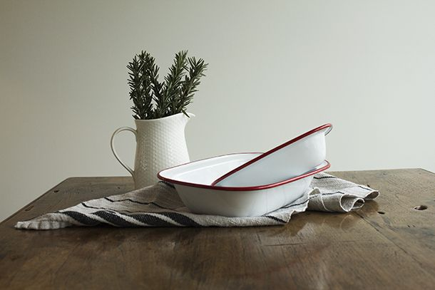 A photograph taken of Falcon Enamelware for a product brochure assignment for university. Styled and shot by myself. Sarah Allen. 2014.