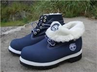 Classic Navy Blue With White Wool Timberland Roll Top Men Footwear
