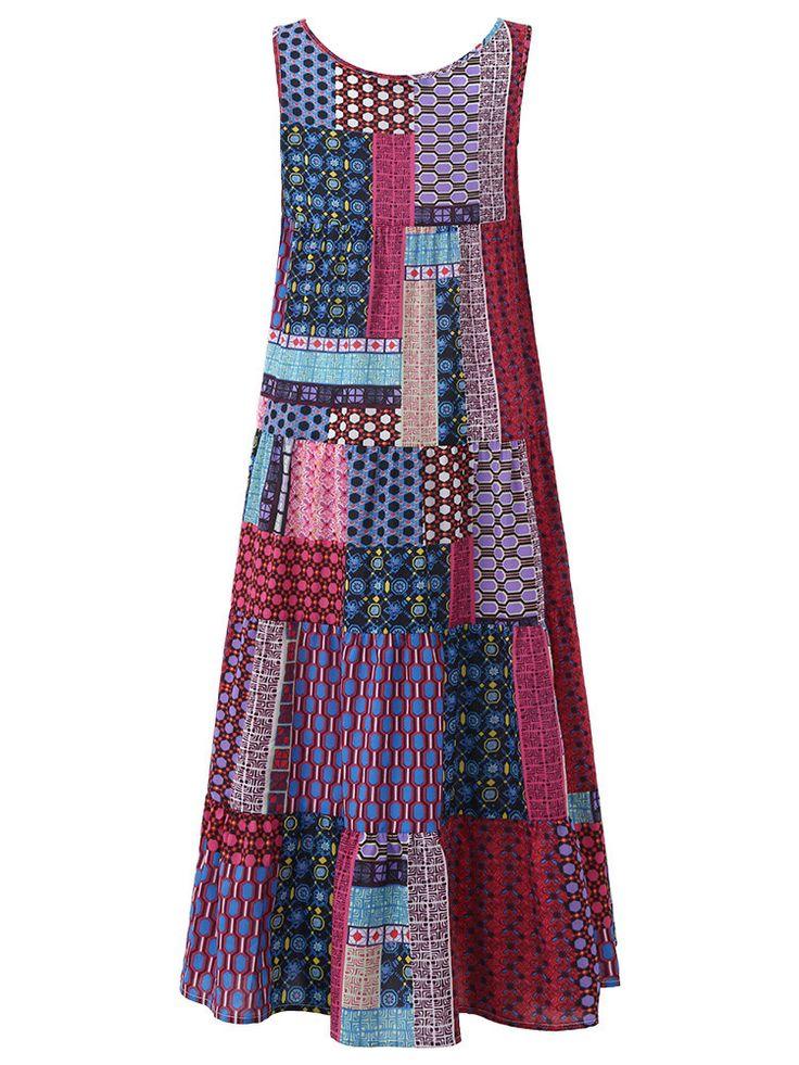 Gracila Bohemian Patchwork Sleeveless O-Neck Long Maxi Dresses
