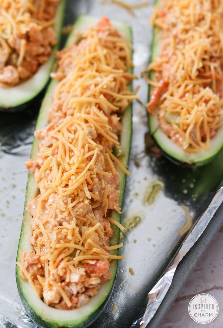 Buffalo Chicken Zucchini Boats - healthy dinner recipe idea with buffalo chicken and fresh zucchini