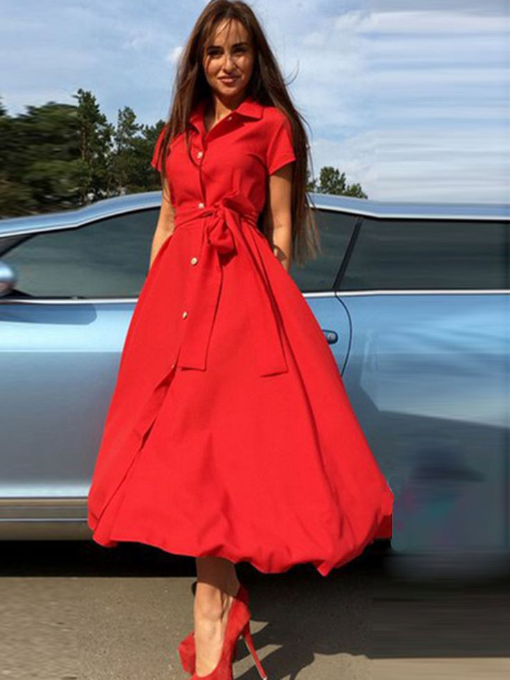 Plain Lapel Single Breasted Women's Maxi Dress