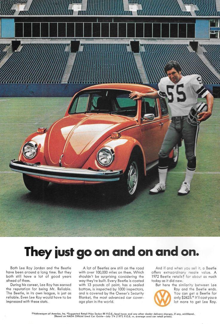 LEE ROY JORDAN (55) advertisement for Volkswagen--1974