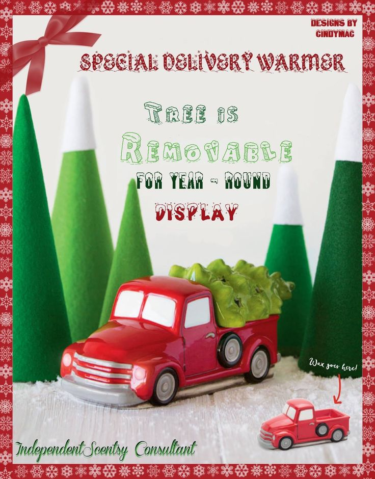 """Scentsy's """"Special Delivery"""" pick up truck warmer with removable Christmas tree new for Holiday 2016 #scentsbykris"""