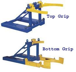Forklift Attachment Mounted Poly Drum Handlers are easy to use plastic drum handlers, constructed of all welded steel. Includes safety chain and T-locks for securing unit to the fork truck. Durable powder coat finish. The Top Grip model is a top lip plastic drum lifter for use with 30 and 55 gallon plastic closed head drums.