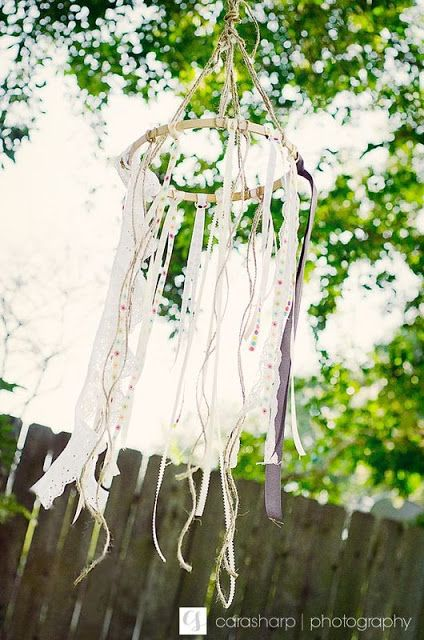 ribbon chandelier. toddler tea party.