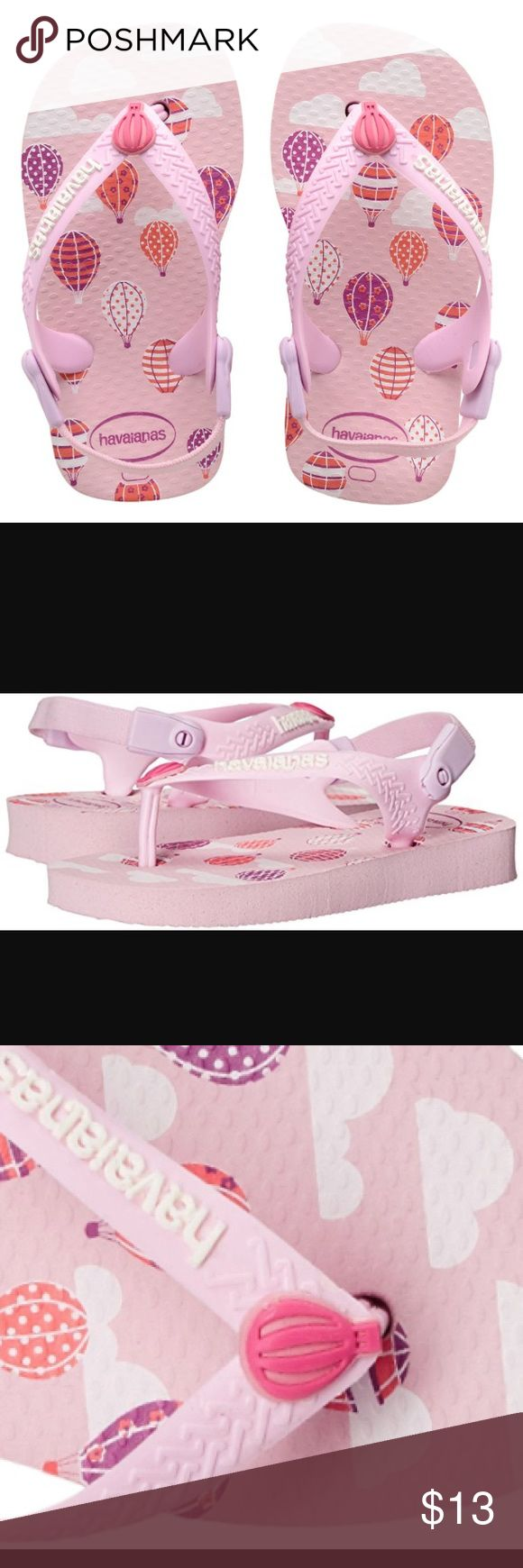 Havaianas Baby Chic Aus Hot Air Balloon Sandal Thong style with sling back strap Cushioned footbed with textured rice pattern and rubber flip flop sole Made in Brazil Baby style reaches new heights with the baby chic aus. Hot air balloons float across a pink cloud-printed sole and  fabric sling back straps keep tiny feet comfortable and secure. Havaianas Shoes Sandals & Flip Flops
