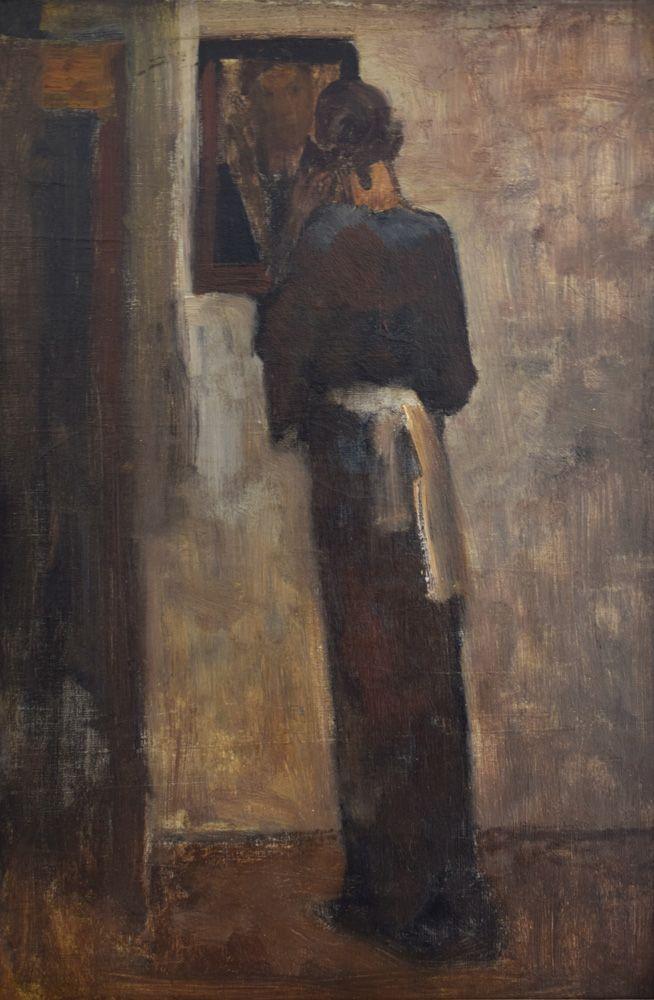 George Hendrik Breitner, Vrouw voor de spiegel, 1893−1896 Olieverf op doek, 67 x 45 cm. Collectie Jan F.M. van Rosmalen, Den Bosch. Foto Borzo gallery, Amsterdam