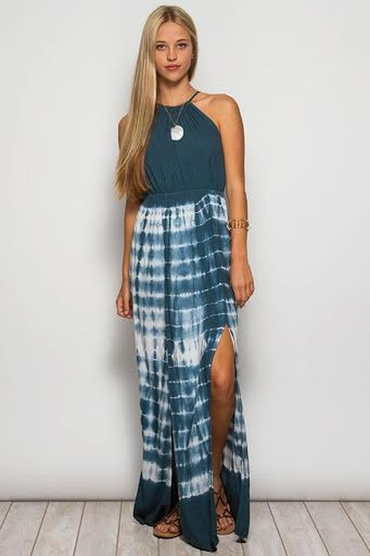 By the Sea - Teal Tie Dye Maxi