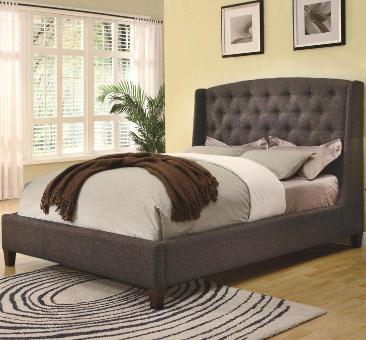 brown coaster low profile king upholstered bed 300247k