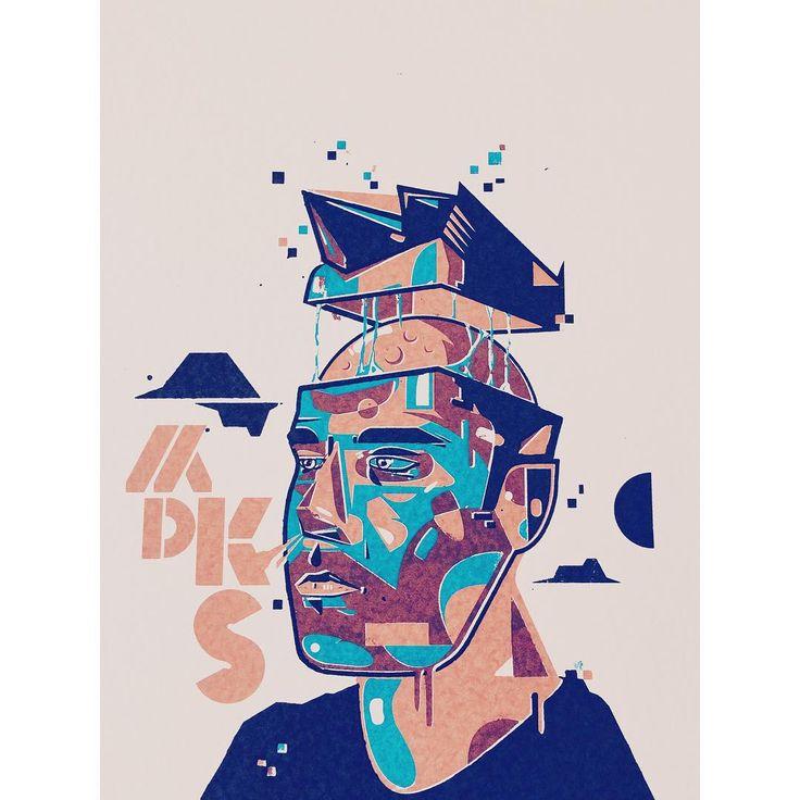 Screen-printed selfportrait