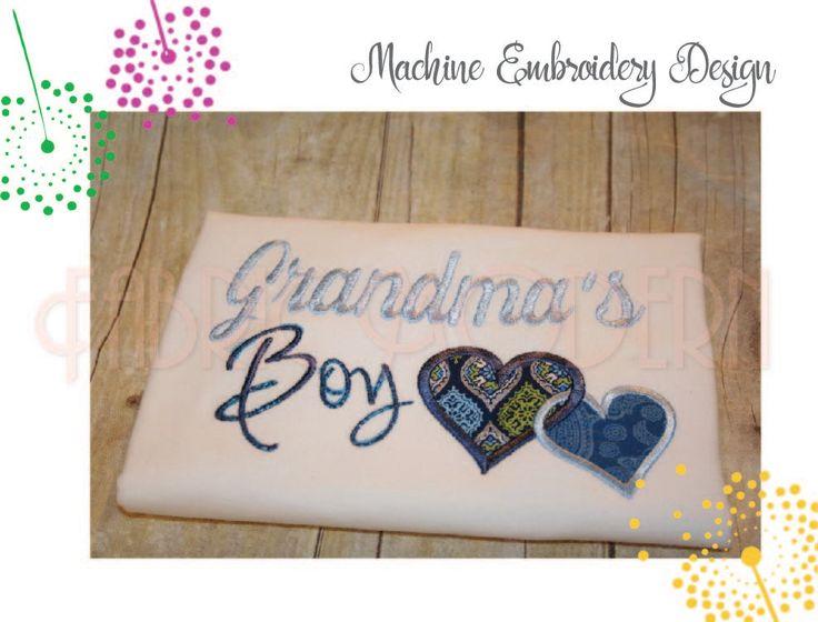 Grandma's Boy Machine Embroidery Design Applique', 5x7 and 6x8, grandmother design, grandma design, #761 by FabricModern on Etsy