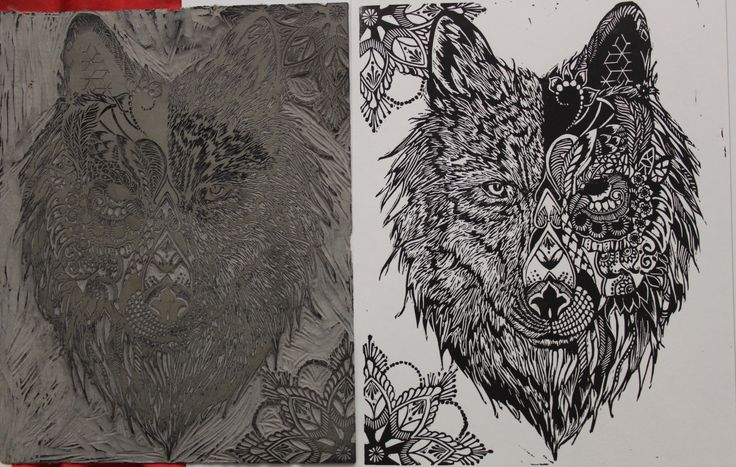 """Duality"" Lino Print Meffan Gallery piece. 10.5""by 8.3"""