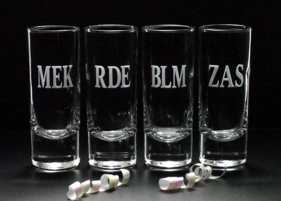Looking for some awesome Personalized Shot Glasses for your wedding party?  Weve created these awesome MONOGRAM SHOT GLASSES just for them. Set of