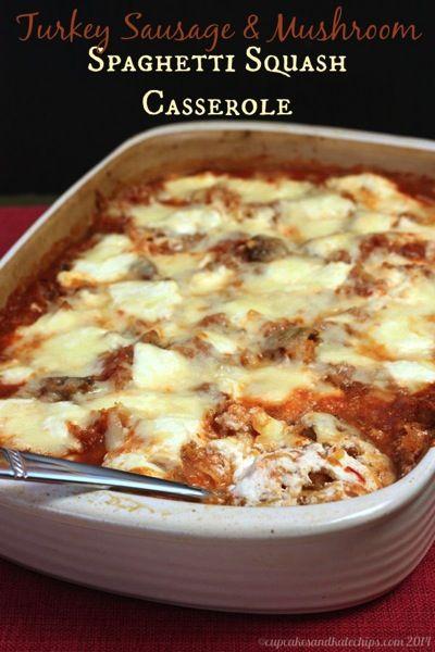 Turkey Sausage & Mushroom Spaghetti Squash Casserole | cupcakesandkalechips.com | #glutenfree #dinner