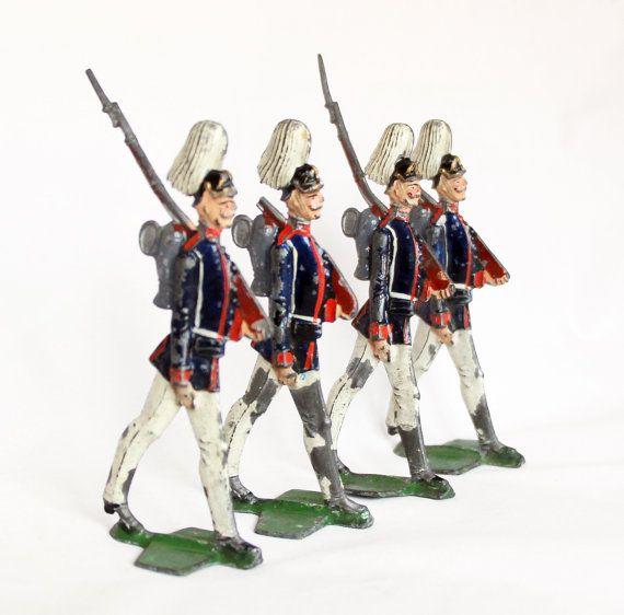 4 x Antique German Tin Soldiers Lead Soldiers by GrandpasMarket