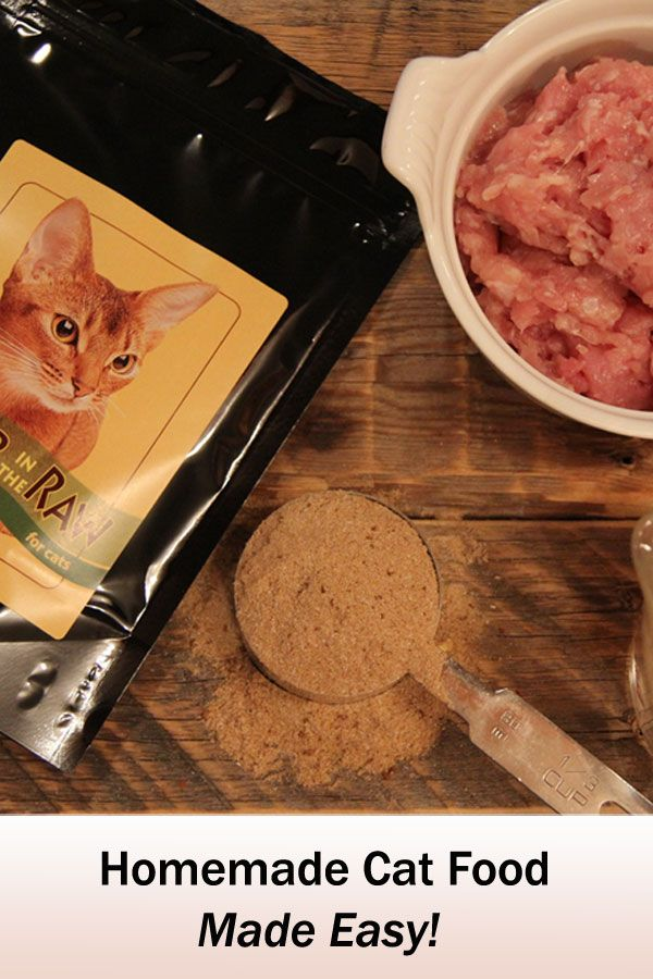 Make your own homemade raw cat food easily with Better in the Raw for Cats. Made in USA & Canada with human grade ingredients.  No grains of any kind are used.  Just add raw meat and water.