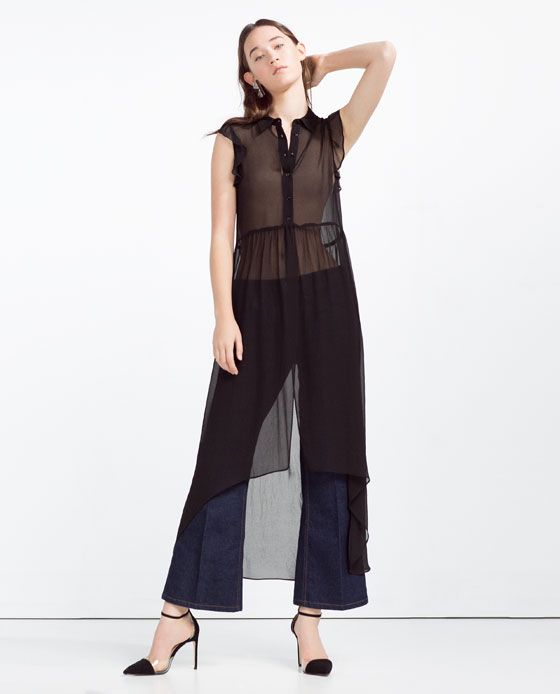 Image 1 of LONG FRILLED BLOUSE from Zara