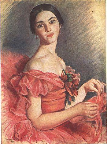 Зинаида Серебрякова (1884-1967) Портрет балерины Е.Н.Гейденрейх в красном. 1923
