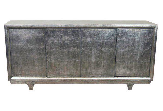 4-Door Tall Sideboard, Silver/Gold