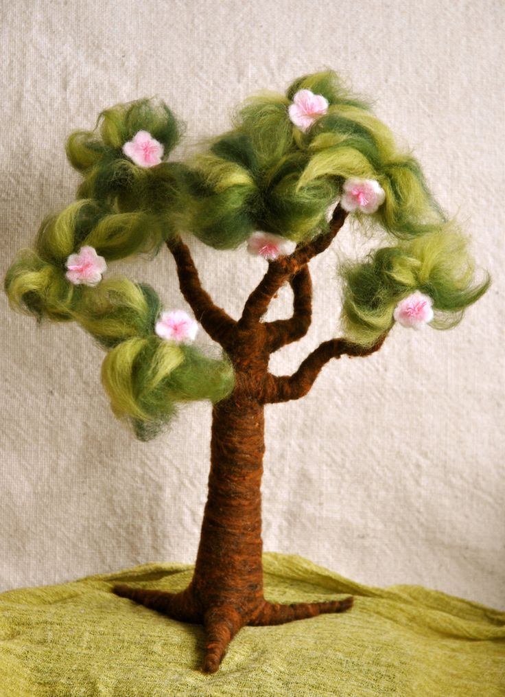 Waldorf inspired needle felted Tree: Spring and door MagicWool