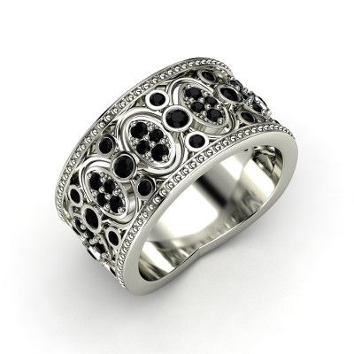 """Renaissance Band Sterling Silver Ring with Black Onyx, A timeless and unique cheap wedding ring that makes me go """"OMG!!!"""" This is SO rock'n'roll... it's totally sexy!"""